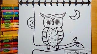 Cara Menggambar Burung Hantu untuk Anak - Anak, Balita  | VanessaDayCare