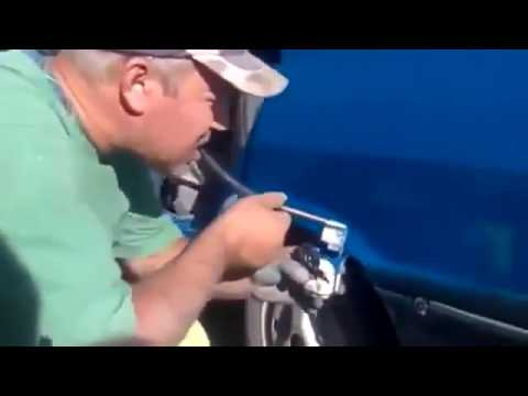 Guy paints a Car by blowing color on it   Broken Compressor