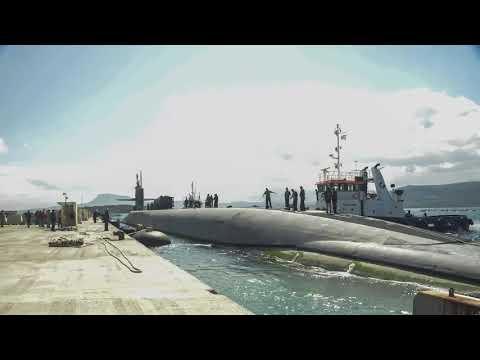 USS Florida (SSGN 728) mooring pierside at Souda Bay, Greece