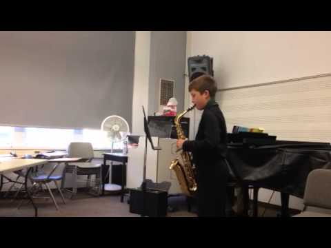 Ethan on saxophone plays Tequila Sunrise by Pam Wedgewood
