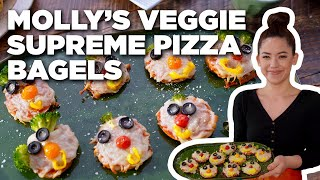 Molly Yeh's Veggie Supreme Pizza Bagels   Girl Meets Farm   Food Network