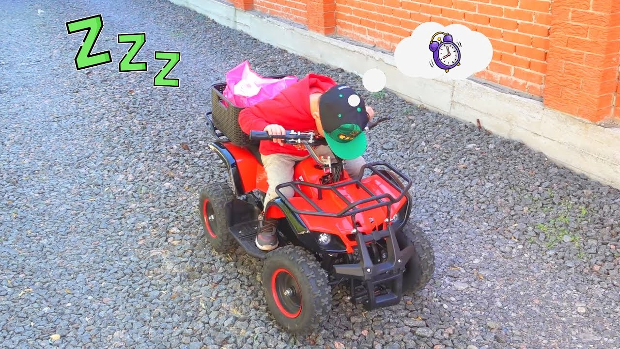 Dima are you sleeping - ride on power wheels Quad Bike
