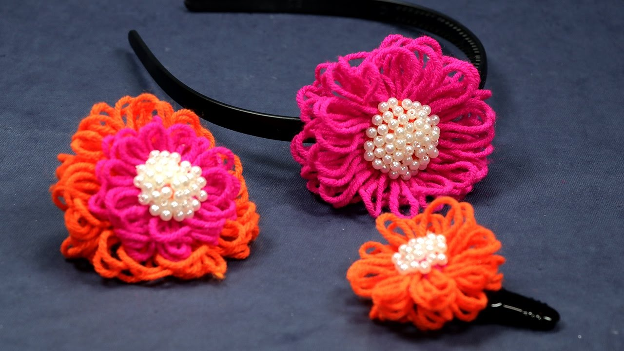 Diy flower crafts wool flower making tutorial youtube for Flower making at home