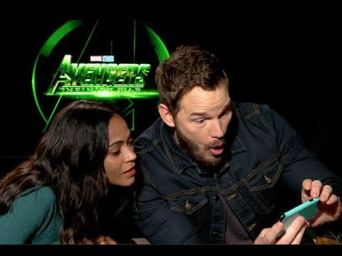 Chris Pratt and Zoe Saldana  for AVENGERS INFINITY WAR unedited