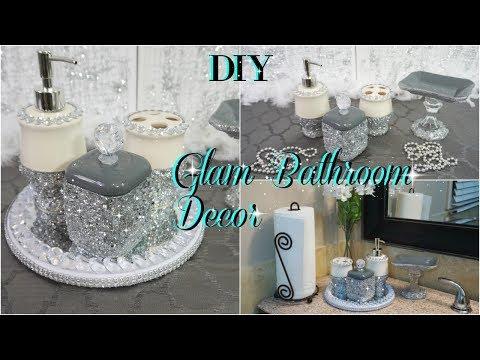 DIY DOLLAR TREE | GLAM WASHROOM DECOR | BATHROOM ORGANIZING DIY