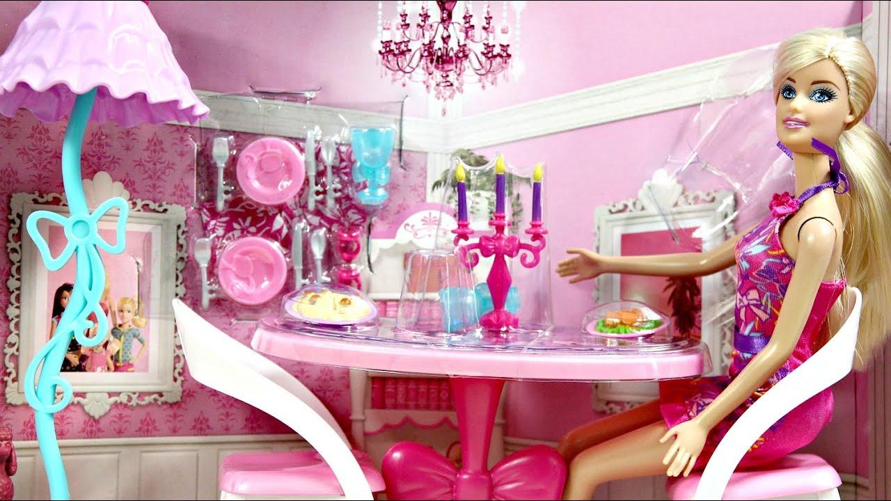 Glam Dining Room Jadalnia Z Lalka Mebelki Barbie X7942