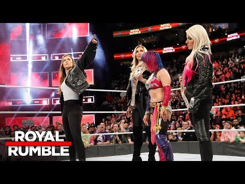 Ronda Rousey confronts Asuka, Alexa Bliss and Charlotte Flair: Royal Rumble 2018 (WWE Network)