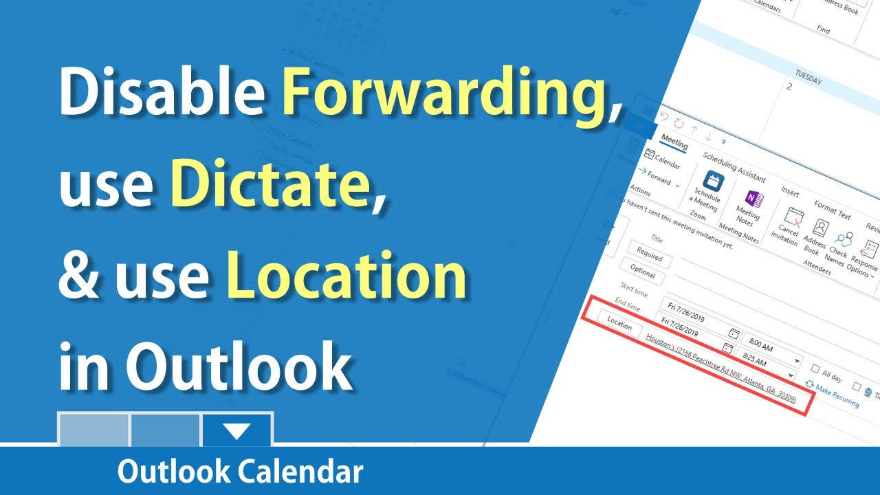 Outlook Calendar - use location, dictate notes and emails