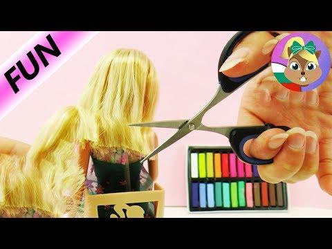 ПЪЛНА промяна на Барби - Барби на фризьор за боядисване и подстригване - нов облик