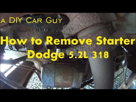 Starter removal dodge van and truck with 318 engine - YouTube