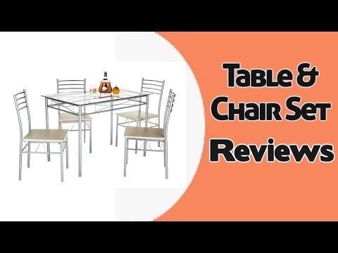VECELO 5 Pcs Glass Dining Table with 4 Chairs | Table & Chair set Reviews