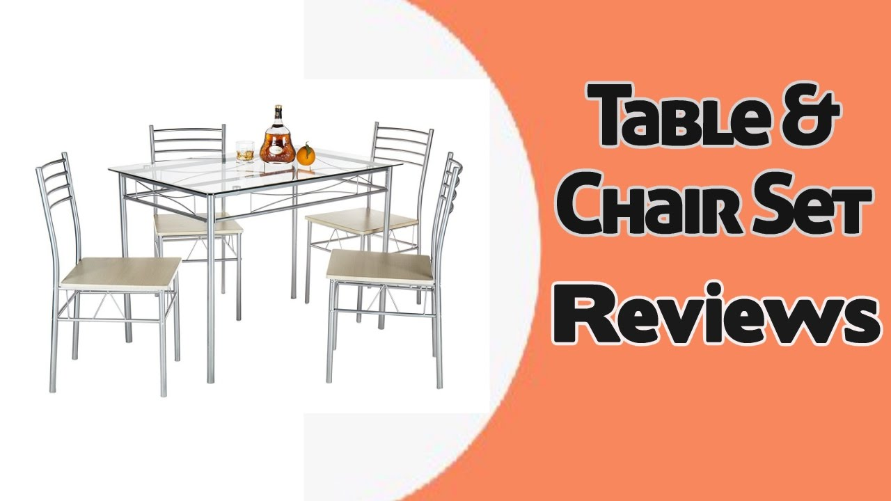 VECELO 5 Pcs Glass Dining Table with 4 Chairs Table  : maxresdefault from www.youtube.com size 1280 x 720 jpeg 79kB