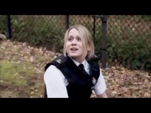 Policewoman arrests man 8