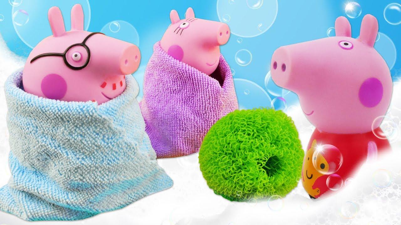 Свинка Пеппа в ванне - Игры для детей Капуки Кануки - Видео для детей с игрушками