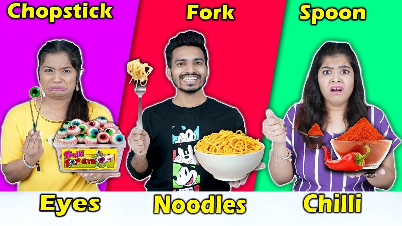 Spoon Vs Fork Vs Chopstick Eating Challenge | Hungry Birds