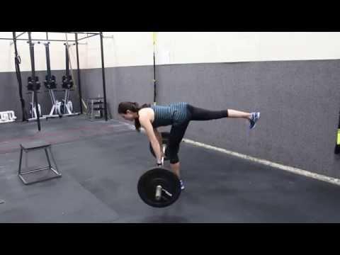 Barbell single leg straight leg deadlift