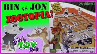Bin Vs. Jon - Disney's Zootopia Suspect Search Game! | Bin's Toy Bin
