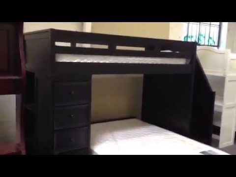 lake view black twin full loft bed with stairs youtube. Black Bedroom Furniture Sets. Home Design Ideas