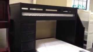 Lake View Black Twin Full Loft Bed With Stairs