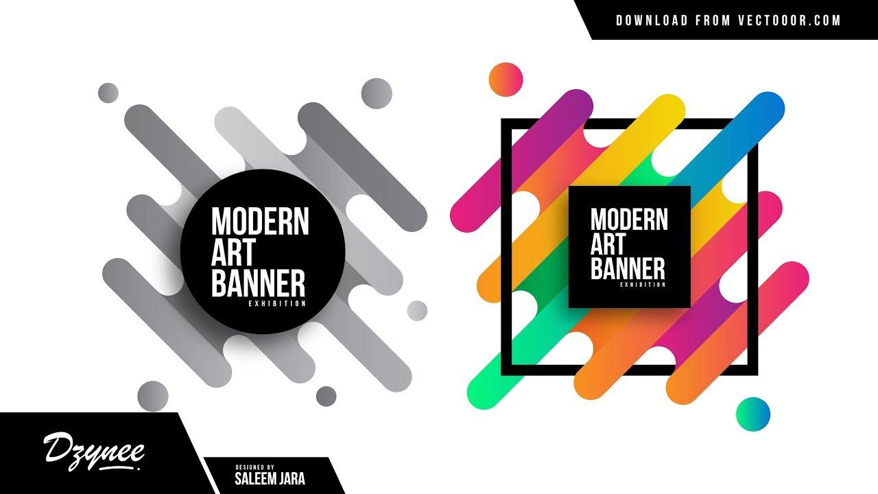 illustrator tutorials modern art banner flat youtube