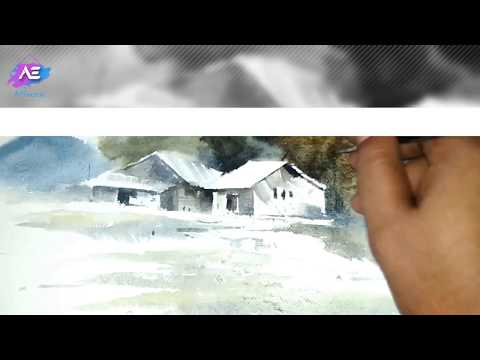 watercolor painting landscape | quick transparent watercolor demonstration | Art Explain | EP74-S1