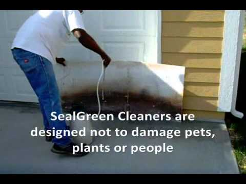 How To Clean A Concrete Driveway Www.SealGreen.com 800-997-3873