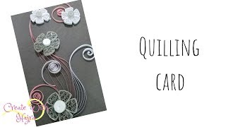 quilling grey and white card with a triangle flower perfect for weddings
