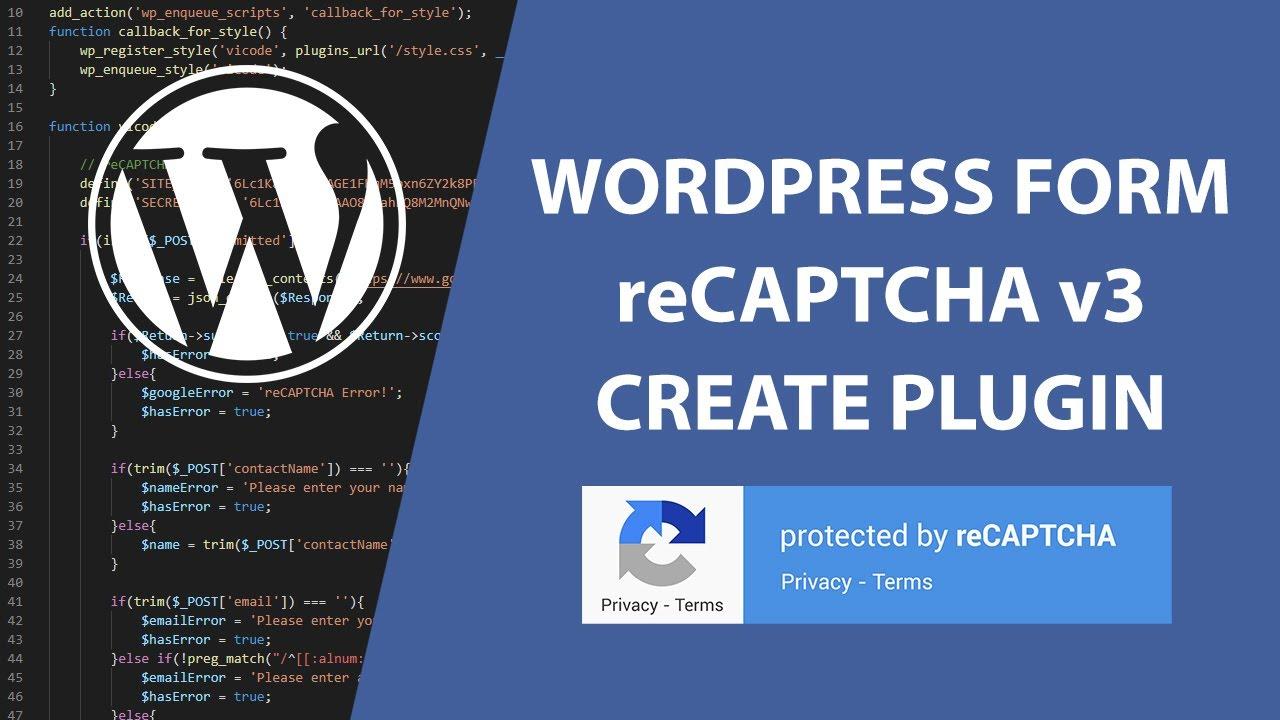 Custom WordPress Form with reCAPTCHA v3 | Create Plugin