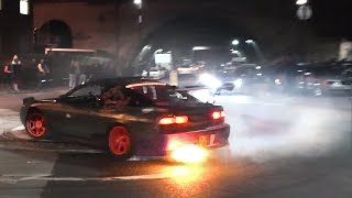 MADNESS on a roundabout - Drifting, burnouts, donuts, flames