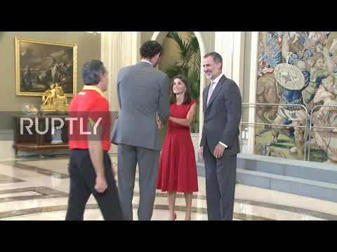 Spain: King Felipe and Queen Letizia welcome home world champ basketball team