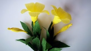 How To Make Allamanda flowers From Crepe Paper - Craft Tutorial