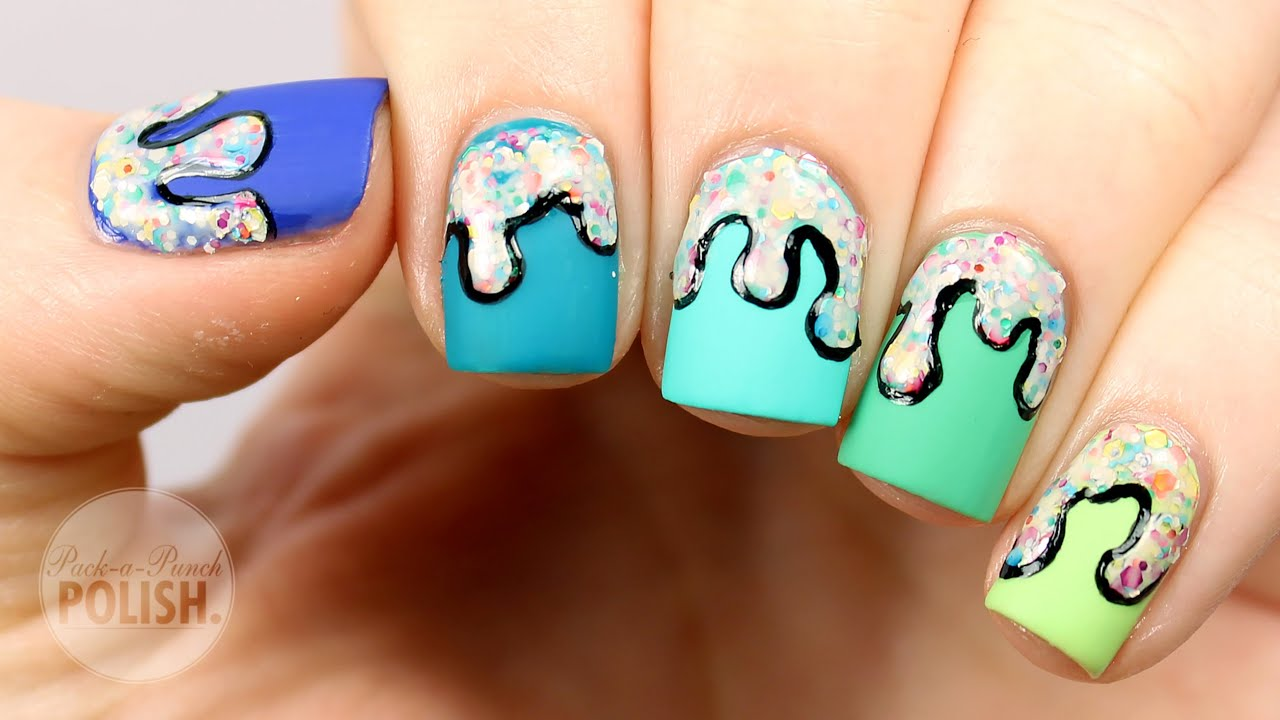 Ombre Frosting Drip Nail Art Tutorial Packapunchpolish Youtube