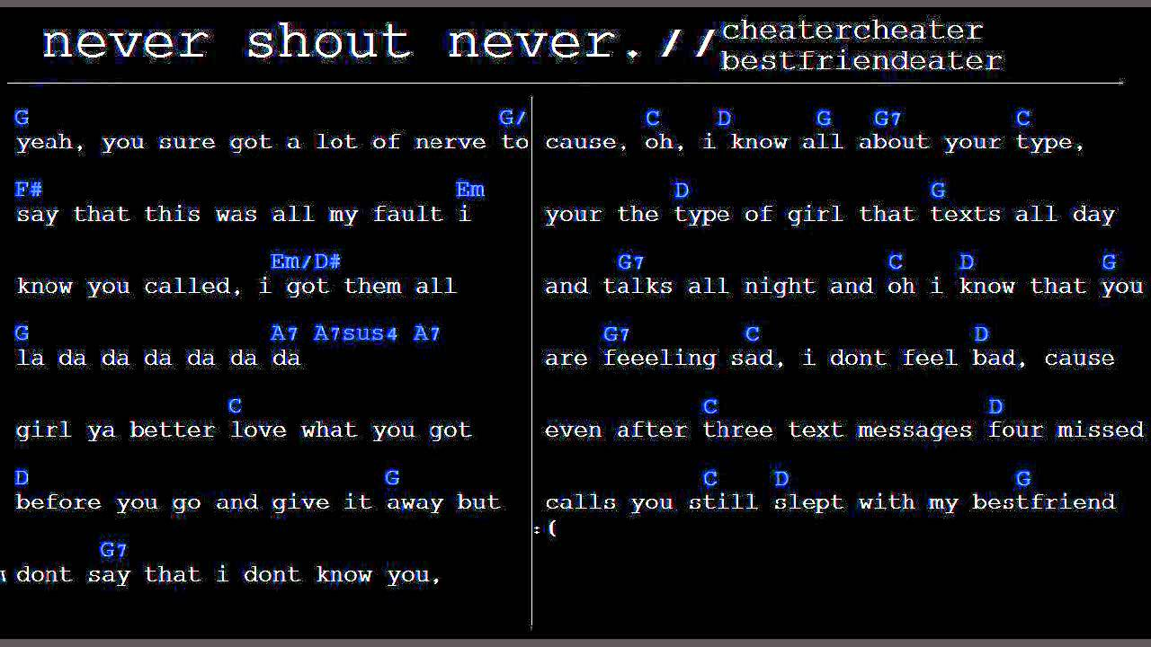 Cheatercheaterbestfriendeater Chords Lyrics Nevershoutnever