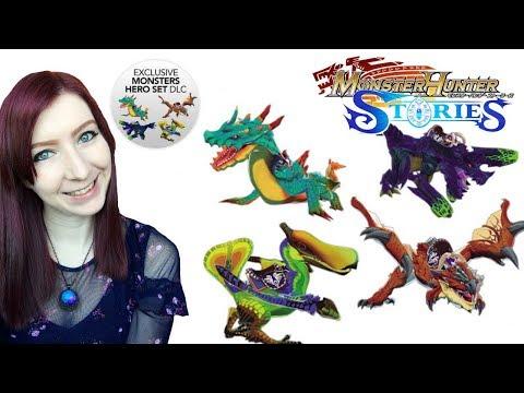 HERO SET DLC SHOWCASE - monster Hunter Stories - Brachydios, Quropeco, Lagiacrus, Rathalos