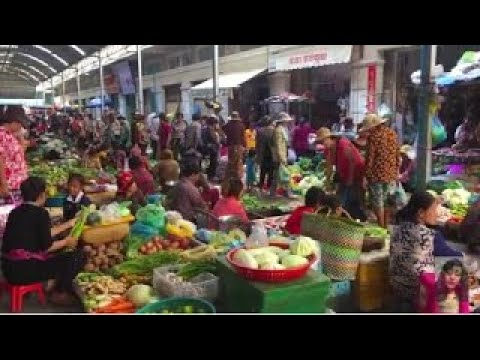 Asian Market Street Food Combinations , Wet Market, Market Street Food, Cambodia
