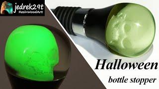 Halloween Bottle Stopper with a Skull 💀 Glow in the Dark / RESIN ART