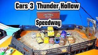 Cars 3 Thunder Hollow Speedway with Miss Fritter Chester Whipplefilter and the Crazy 8 Races