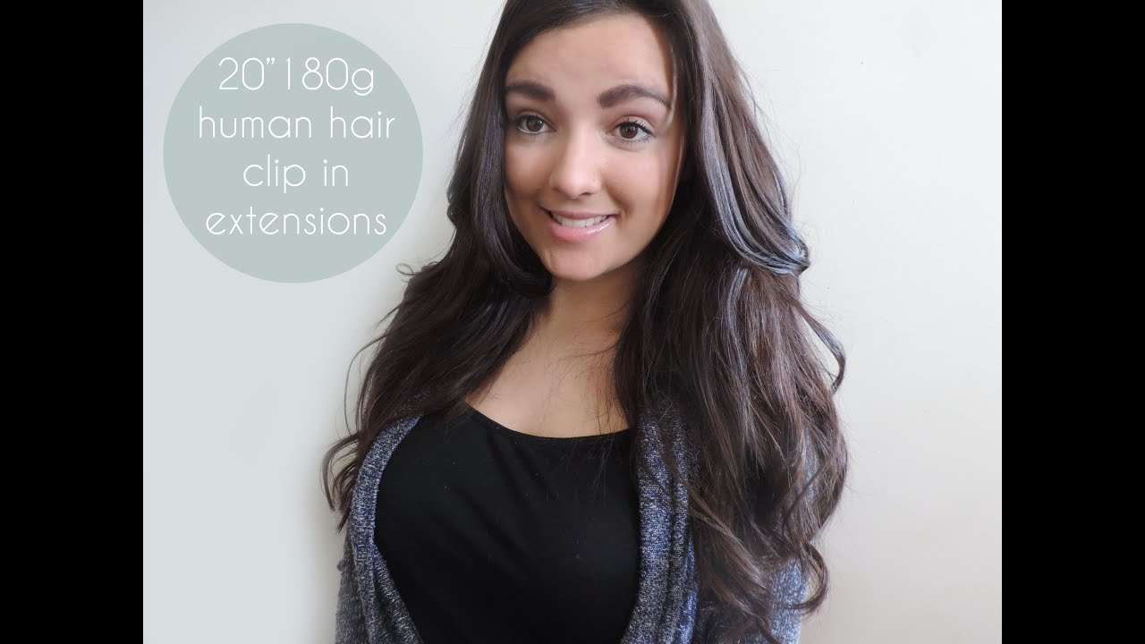 Review 20 Inch 180 Gram Clip In Human Hair Extensions Youtube