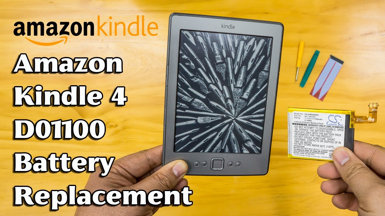 Amazon Kindle 4th Gen D01100 battery replacement, teardown, disassembly