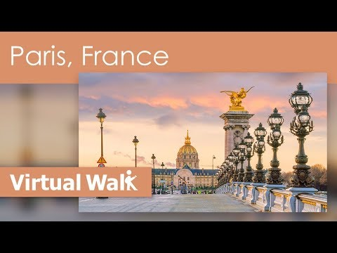 Walks Virtual -  Paris, France With Scenes Of Eiffel Tower And The River Seine And Gardens