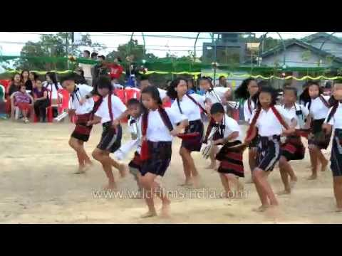 Young Mizo children stand in rows to perform Chawnglaizawn dance product_image_not_available.gif