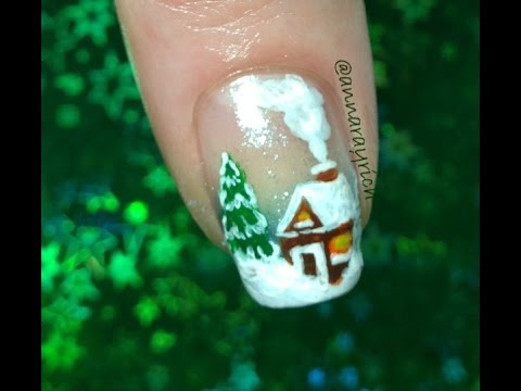 House In The Forest Nail Art Design Youtube