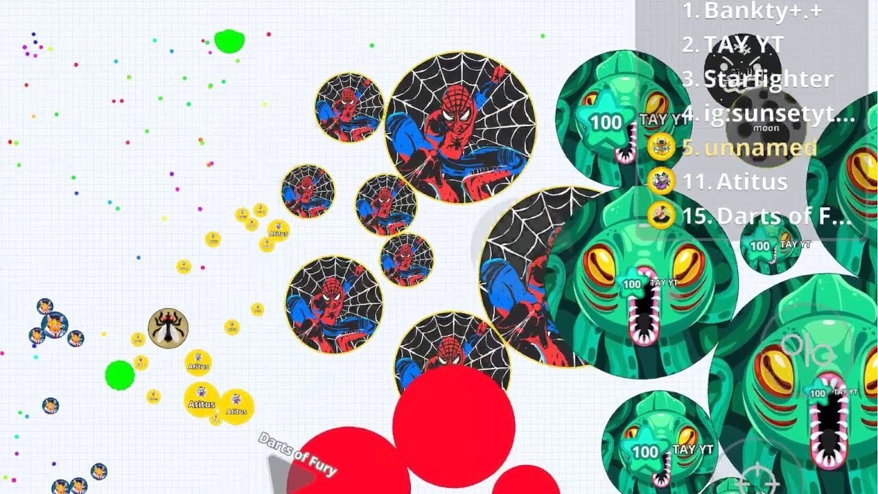 AGARIO MOBILE SPIDER MAN PLAY AGAR IO MOBILE, BEST CUSTOM SKINS GAMEPLAY