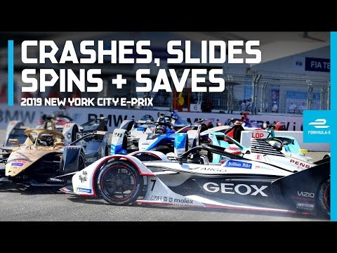 2019 New York City E-Prix | Most Dramatic Crashes, Spins, Slides And Saves