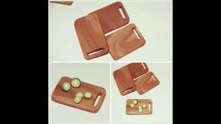 Polymer Clay Cutting Board..miniature Food Tutorial...(طريقة عمل لوح تقطيع بالصلصال الحراري (فيمو