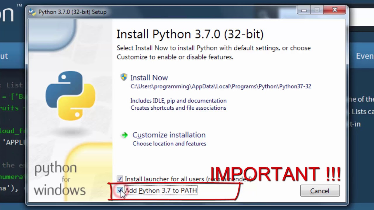 How to download and install python 3.7 on windows - YouTube