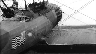 Flyers,aircraf, and insignia of 1st and 24th Aero Squadrons during World War I, F...HD Stock Footage