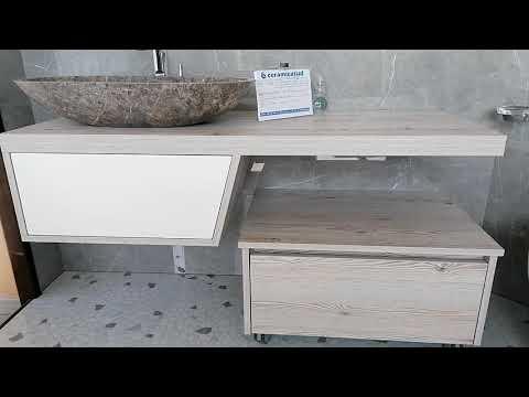 Mobile da bagno sospeso con carrello per lavabi da appoggio da 130 cm. - N. prodotto: 54132