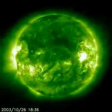 The Sun with heavy solar flare activity
