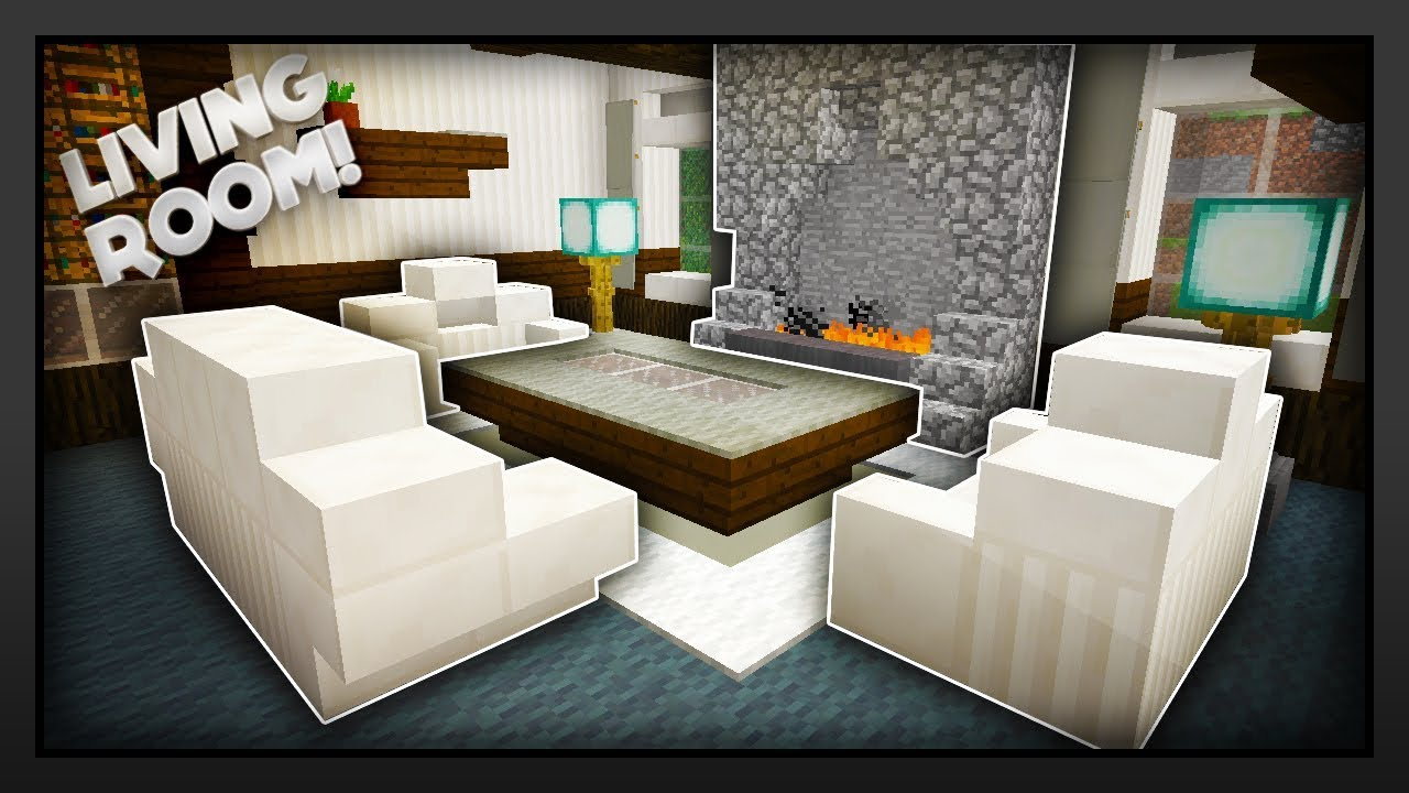 Minecraft how to make a traditional living room youtube Living room furniture minecraft